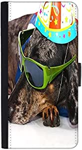 Snoogg A Dogs Life Having Fun At A Party Graphic Snap On Hard Back Leather + ...