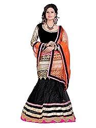 Greenvilla Designs Black And Orange Banglory Silk Lehenga