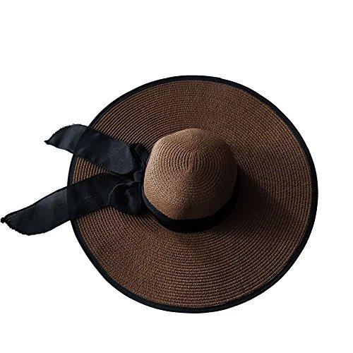 f Strand Hut für Frauen Große Krempe Stroh Sonnenhüte Aufrollen Packbar UPF 50+ (Coffee, Einheitsgröße) ()