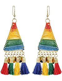 Unibrand Tribal Tassel Hanging Earrings Designer Dangler for Women and Girls