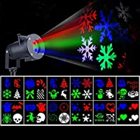 WYBFBYQ Christmas Projector Lights, LED Light Projector Colorful Landscape Lights Waterproof Outdoor Indoor Xmas Party Yard Garden Decorations