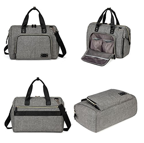 LCY Stylish Multi-function Baby Nappy Changing Bag With Changing Pad Grey