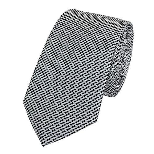 Kreuz-muster-krawatte (Fabio Farini karierte 6 cm Krawatte, für jeden Anlass mit Karomuster in mehreren Farben (Schwarz Weiß))