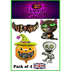 RMCtrends® - Globos de Papel de Aluminio para Halloween, decoración de Fiesta, Calabaza de Gato, decoración de Bate de Esqueleto (Paquete de 4)