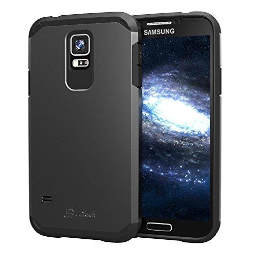 JETech Hülle für Samsung Galaxy S5 mit Stoßdämpfung, Schwarz