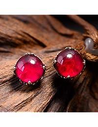 8a3ee96481ab Weiduoli 925 Incrustaciones de Plata Rojo Redondo Piedra Natural Pendientes  Retro Joyas Regalo