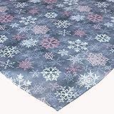 Raebel Tischdecke 85 x 85 cm Druck Eiskristalle Mitteldecke Tischdeko Weihnachtsdekoration bunt Bedruckt Weihnachtstischdecke rosa grau Rose