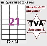 1.050 Etiketten 70x42 mm - 21 selbstklebende Etiketten - 50 Blatt mit Etikett 70 x 42,3 mm für Tintenstrahl-Laserdrucker