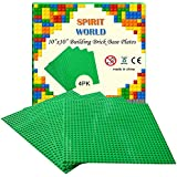 "Brick Building Base Plates 10""x10"" Compatible For Lego Brick Block Green Color Minifigure Building Baseplate Baseboard (4-Pack) Fit With All Major Brick Sets By SPRITE WORLD"