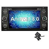 Ohok 7 Zoll Bildschirm 2 Din Autoradio Android 8.0.0 Oreo Octa Core 4G+32G Radio mit Navi Moniceiver DVD GPS Navigation Unterstützt Bluetooth WLAN DAB+ OBD2 für Ford C-Max/Connect/Fiesta/Focus/Fusion/Galaxy/Kuga S-Max/Transit Schwarz mit Klein-Rückfahrkamera
