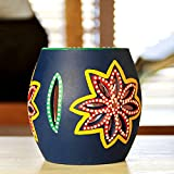 ExclusiveLane 'The Glowing Barrel' Hand-Painted Tea-Light Holder In Terracotta-Tealight Candle Holder Votive Candle Holder Stand Diwali Decoration Home Decorative Items For Living Room Gift Tealight