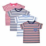 Luke and Lilly Boys Round Neck Cotton Half Sleeve Stripped T-Shirt (8-9 years)Pack of 4