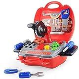 Trousse  d'outils  enfants  DIY Jouets Jeu de simulation avec Valise Robuste 19 pcs Coloré Jeu Rôle Jouet Kit Filles Garçons Cadeau d'anniversaire