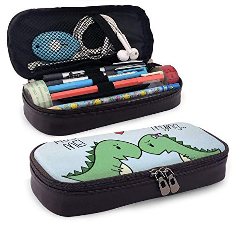 Cute Dinosaurs Hug Me, I\'m Trying Pencil Case Pouch Large Capacity Pen Bag Double Zippers Multifunction Makeup Bag Stationery Bag Cosmetic Bag with Compartments