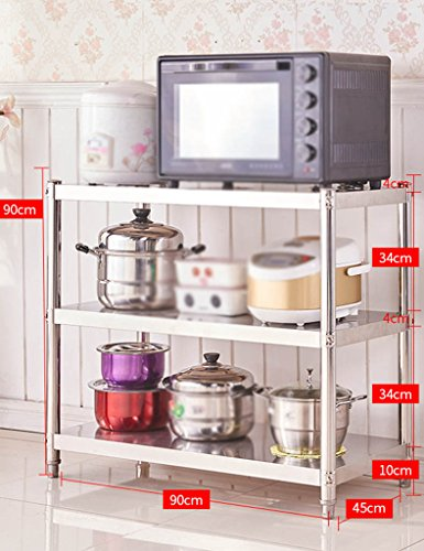 HWF Etagères de cuisine 3 couches Étagère de cuisine Étagère de four à micro-ondes Étagères de rangement en acier inoxydable (Couleur : 90 * 90 * 45cm)