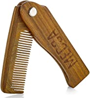 Folding Wooden Comb - 100% Solid Beech Wood - Fine Tooth Pocket Sized Beard, Mustache, Head Hair Brush Combs f