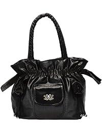 Sofia Secret Fancy Stylish Synthetic Leather Handbag For Women And Girls (Black)