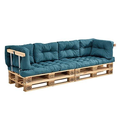 [en.casa] Euro Paletten-Sofa - DIY Möbel - Indoor Sofa mit Paletten-Kissen Wintergarten (2 x Sitzauflage und 6 x Rückenkissen) Türkis - inkl. 4 Europalette + 2X Rückenlehne - 2X Armlehne