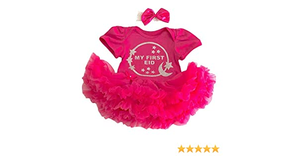 Newborn Gift Celebrate Little Secrets Childrens Clothing Baby Girls First Eid Hot Pink Tutu Romper with Bow Headband