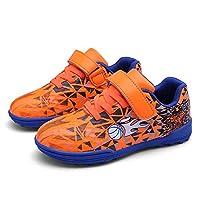 Kids' Voetbalschoenen, Anti-Slip Football Training Shoes Self-Adhesive Teenage Student Outdoor Sneakers,Orange,38EU