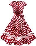 Gardenwed Damen Vintage 50er Cap Sleeves Retro Cocktailkleid Rockabilly Petticoat Faltenrock Hepburn Stil Abendkleid Red White Dot M
