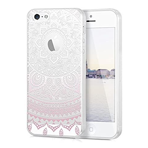 kwmobile Hülle für Apple iPhone SE / 5 / 5S - TPU Silikon Backcover Case Handy Schutzhülle - Cover klar Indische Sonne Design Rosa Weiß Transparent
