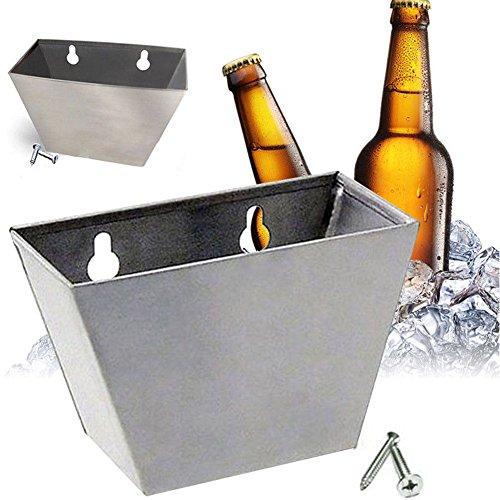 Wandhalterung Flaschenöffner Cap Edelstahl Box Catcher w Schrauben, 2in 1Bier Flaschenöffner/Flasche GAP Aufbewahrungsbox Free Size silber