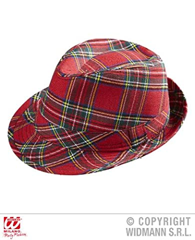 HUT - FEDORA - rot kariert, Schottenmuster, Schottland (Männer Frauen Fedora)