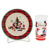 Disney Parks Holiday Home Cookies for Santa Plate and Glass Set