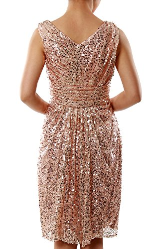MACloth Women V Neck Sequin Short Bridesmaid Dress Wedding Party Cocktail Gown Light Gold