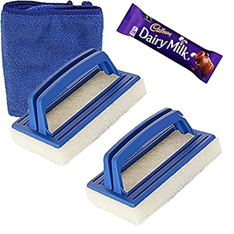 SUDS-ONLINE Two Pack of Hot Tub & Spa Waterline Scrubbing Brush Set - Complete with FREE Microfibre Cleaning Cloth - Easy to Use with Heavy Duty Plastic Handle and Poly Bristle Scrubbing