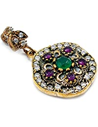 Silvestoo India Emerald, Ruby & Topaz (Lab) 925 Sterling Silver With Bronze Pendant PG-104581