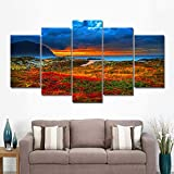 Canvas Painting 5 Piece HD Printed Art Beautiful Seaside Flowers Wall Pictures for Living Room Modern Home Decoration SJDBF