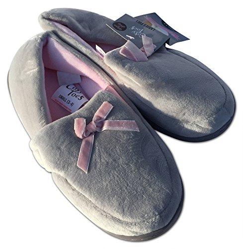 Cosy Toes Damen Hausschuhe grau / rosa