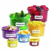 Watooma Vorratsdosen Set zur Portions-kontrolle | Abnehmen durch Portionsgrößen Perfect Portion Control - Diät Lebensmittel-Dosen | Mahlzeit Bevorratung Food Box Frischebox Frischhaltedosen