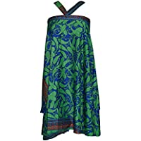 Women's Magic Wrap Around Skirt Handmade Reversible Boho Beach Dress One Size (Green)