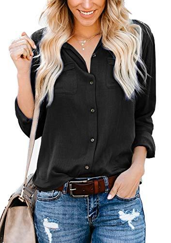 Yidarton Damen Bluse Elegant V-Ausschnitt Button Down Shirts Lose Casual Langarm Tunika Tops mit Brusttaschen Size XXL (Schwarz)