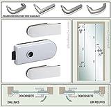 Hochwertiges Beschlagset für Ganzglastür in Alu matt Typ Studio / Passender Drücker frei wählbar / Kostenloser Versand / Drücker Typ 3