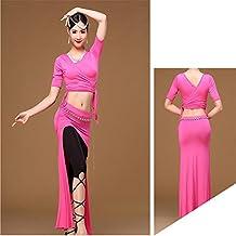 CO&CO Adulto traje de danza del vientre traje Traje de equipo de demostración de señoras , rose red , m
