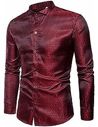 Männer Shirt Slim Fit Langarm Casual-Taste Shirts Formale Top Bluse  Langärmliges Hemd aus Crêpe 096c079af7