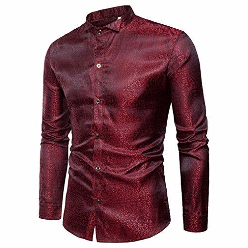 GreatestPAK T-Shirt Männer Shirt Slim Fit Langarm Casual-Taste Shirts Formale Top Bluse Langärmliges Hemd aus Crêpe-Muster für Herren Neckholder Formale