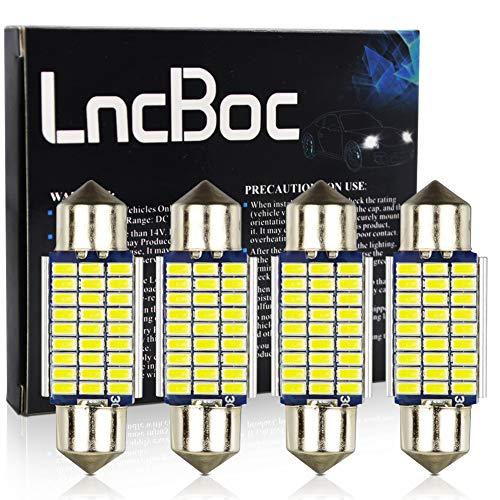 LncBoc 36mm C5W LED Lampadine 27SMD 3014LED Super Luminosi Bianca Lampadine per Porte Interne di Auto Luci di Lettura Luci Plafoniera Luce Targa 12V Confezione da 4