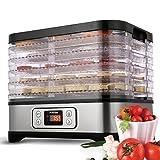 Dörrautomat mit Temperaturregler, Dörrgerät für Lebensmittel, Obst- Fleisch- Früchte-Trockner, Dehydrator, BPA-frei, 5 Etagen, 250W/LCD