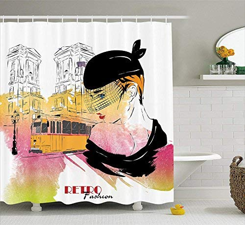 HOJJP Fashion House Decor Shower Curtain, Lady Posing in Front of Tramway Sketch Retro Romance Aesthetics, Fabric Bathroom Decor Set with Hooks, 60W X 72L Inches Extra Long, Yellow Purple