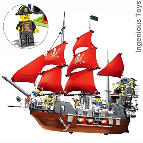 Piratenschiff with 6 Pirates Figuren - Passend BAU Block #53X41 ()