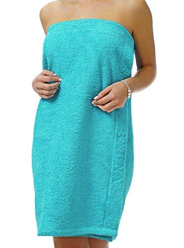Saunakilt Dame türkis - blau, das Saunatuch aus schlingenfesten Frottee, Sauna Sarong mit Klettverschluss und Gummizug