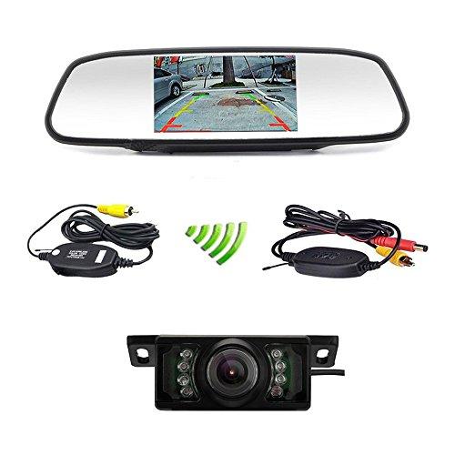 podofo Auto Backup Kamera Wireless 12,7 cm Auto TFT LCD Spiegel Rear View Monitor mit IR-Nachtsicht wasserdicht Rückfahrkamera (Wireless-rückfahrkamera-system)