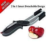 Dammer küchenschere Smart Clever Cutter 2-in-1 Edelstahl Schneidebrett Schere,Messer Küche Werkzeug Slicer Gemüse -Babynahrungsergänzungs Scissors