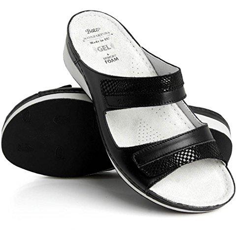 Batz Hilda Scarpe Comfort Di Alta Qualità, Scarpe In Pelle, Mulo, Sandalo, Signore Nero