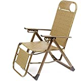 Schlafsofas Brisk- Lounge Chair Freizeit \ Balkon Napping Cane Stuhl Cool Chair \ Klappstuhl Beach (Farbe : Gold-3 Folding)